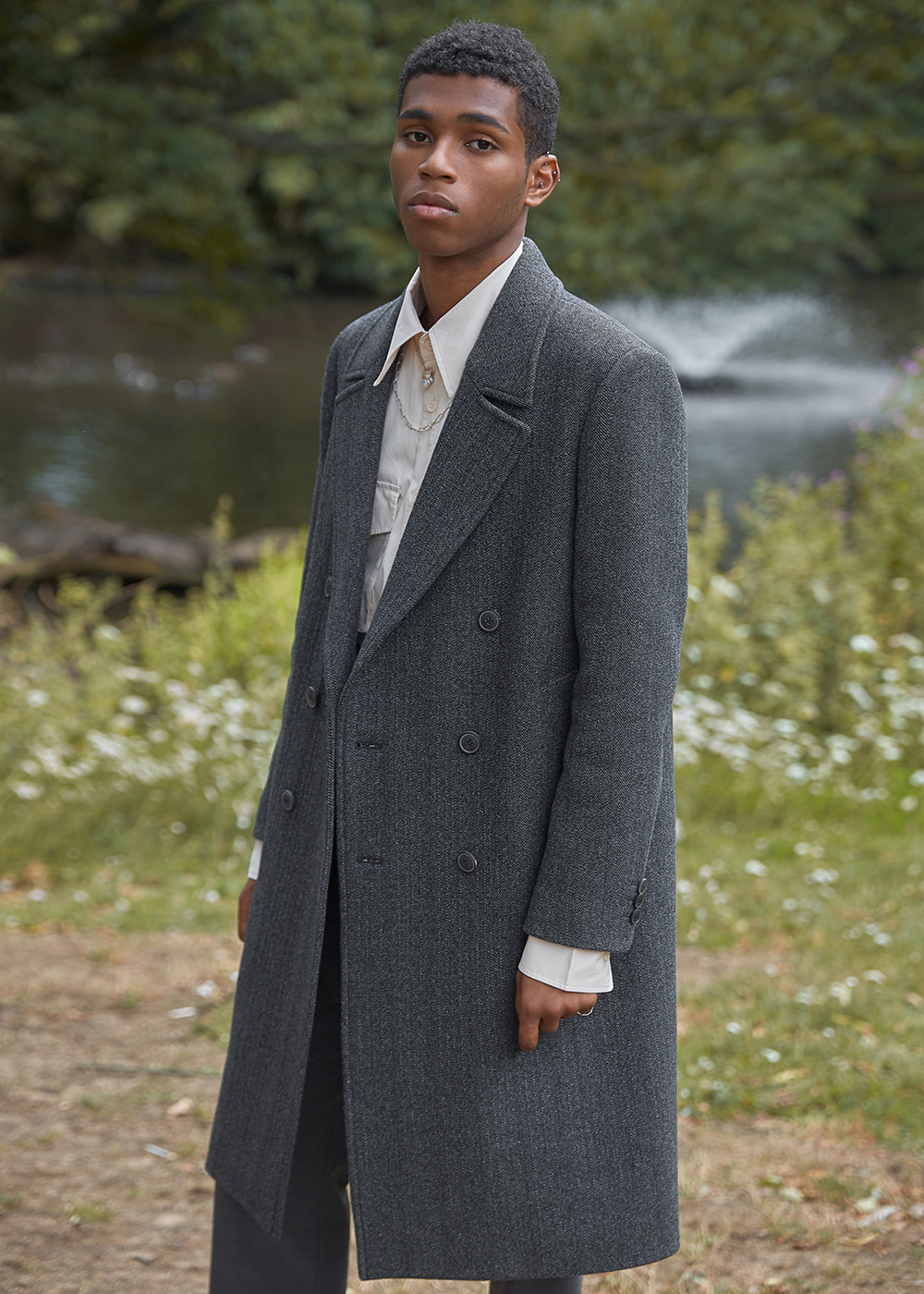 Wool Tailored Double Coat - Herringbone Grey