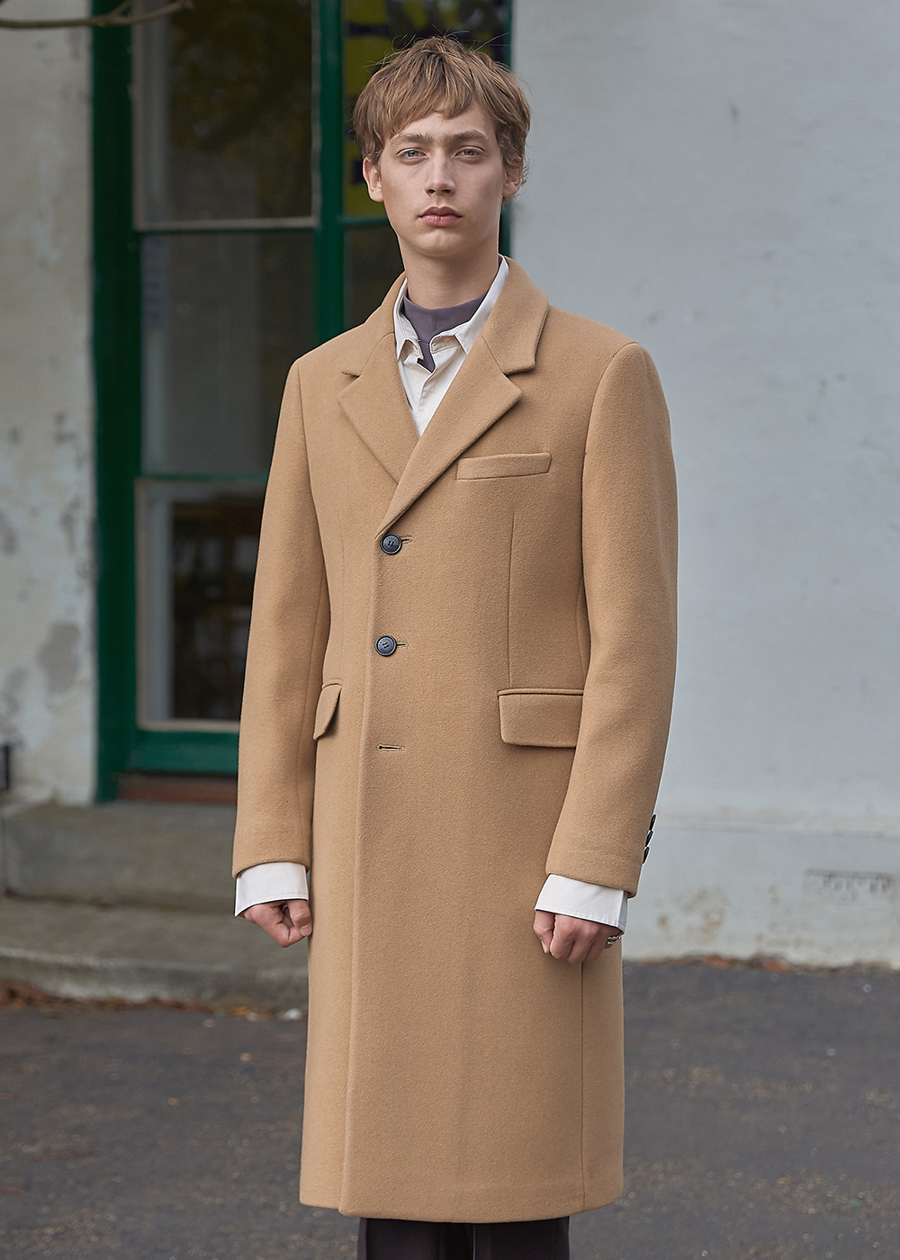 Wool Cashmere Tailored Single Coat - Cafe Beige