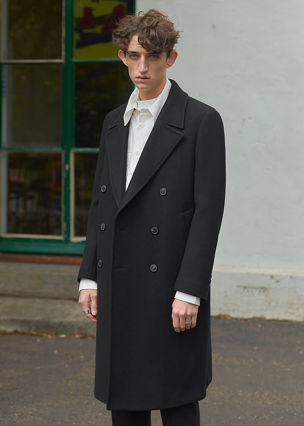 Wool Cashmere Tailored Double Coat - Retro Black