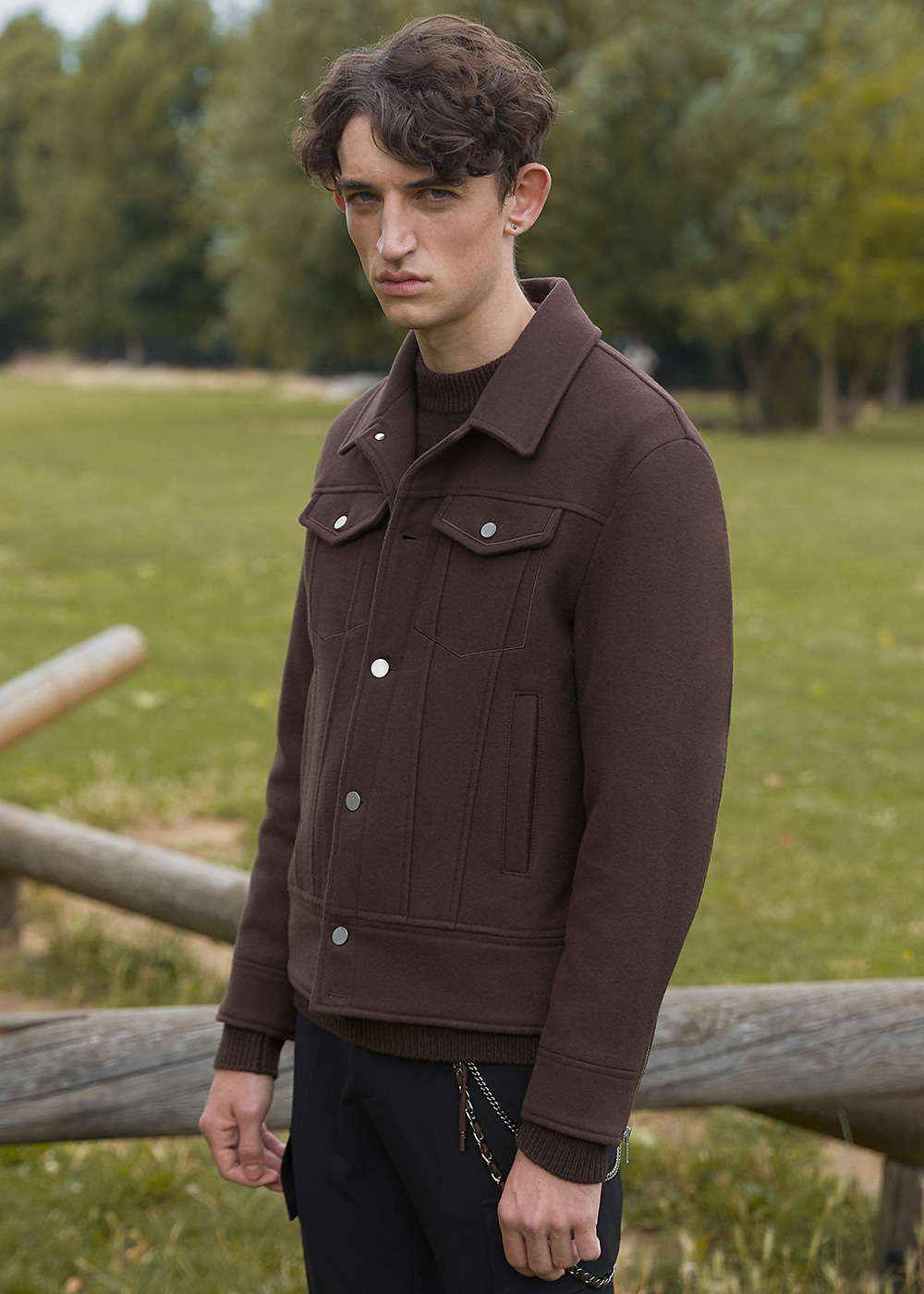 Heavy Wool Trucker Jacket - Chocolate Brown