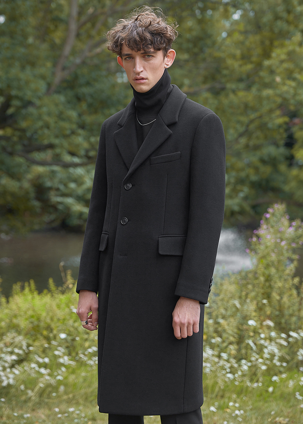 Wool Cashmere Tailored Single Coat - Retro Black