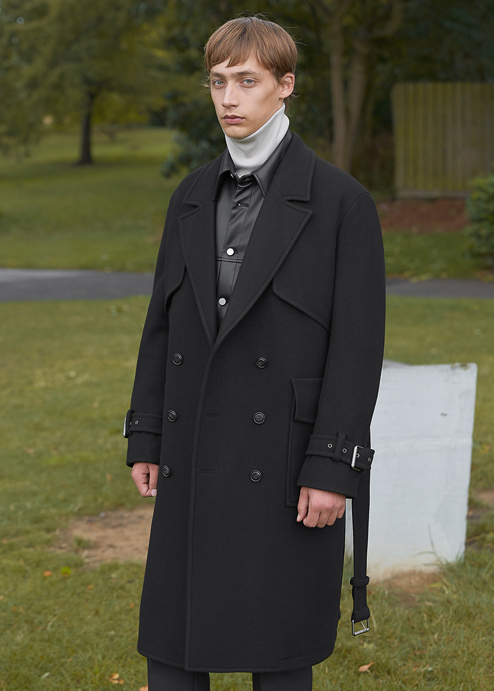 Double Oversized Wool Trench Coat - Black