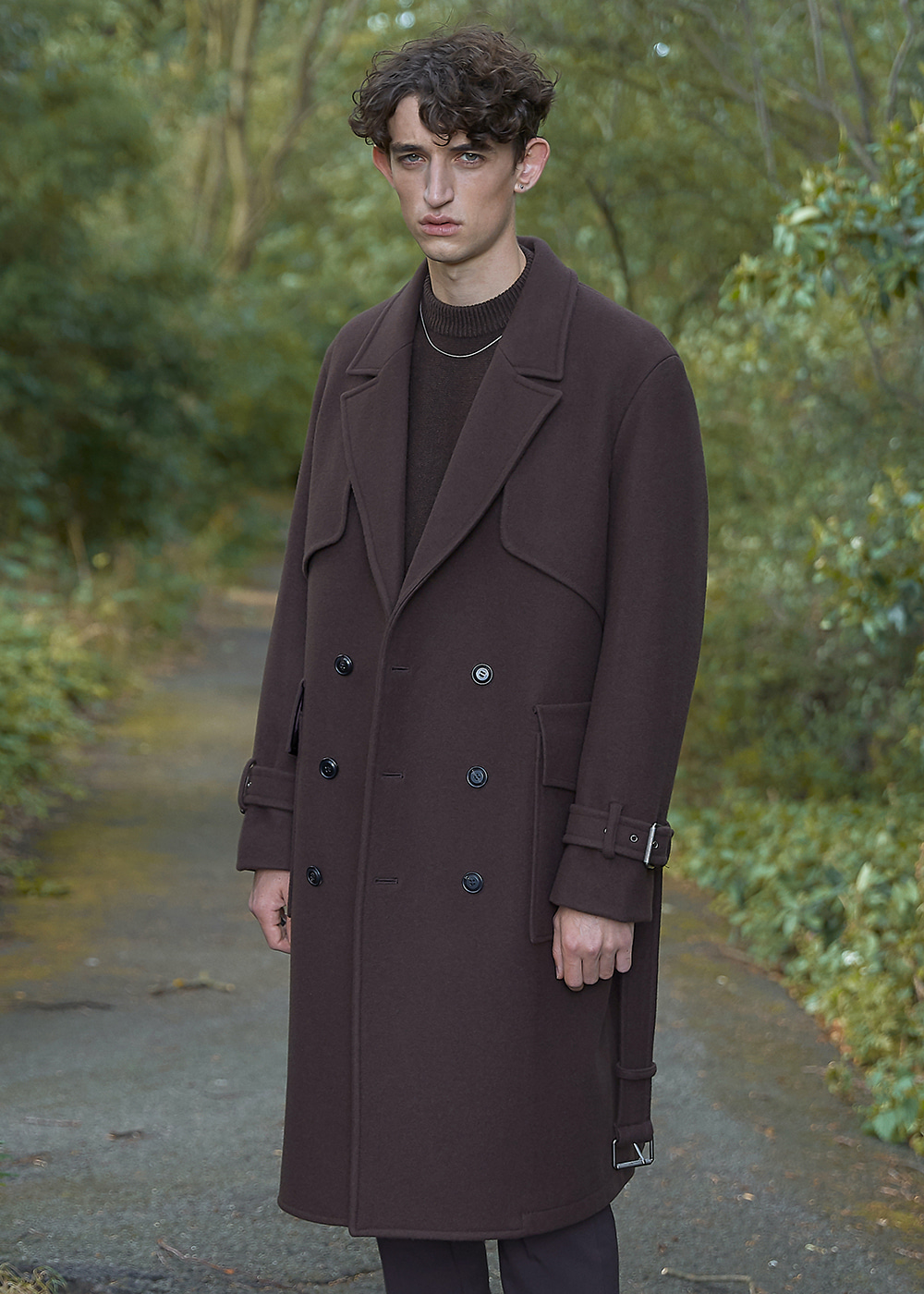 Double Oversized Wool Trench Coat - Chocolate Brown