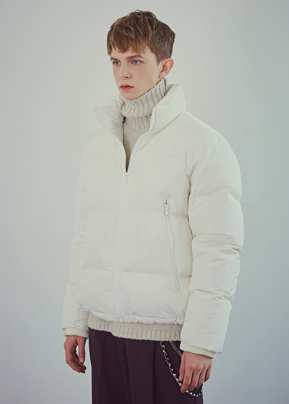 Short Down-filled Jacket - Creamy White