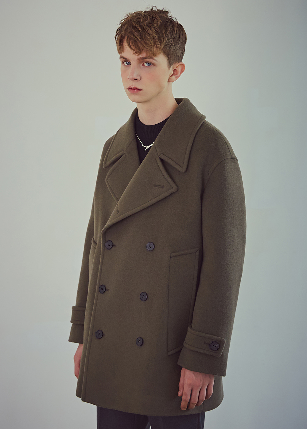 Oversized Wool Peacoat - City Khaki