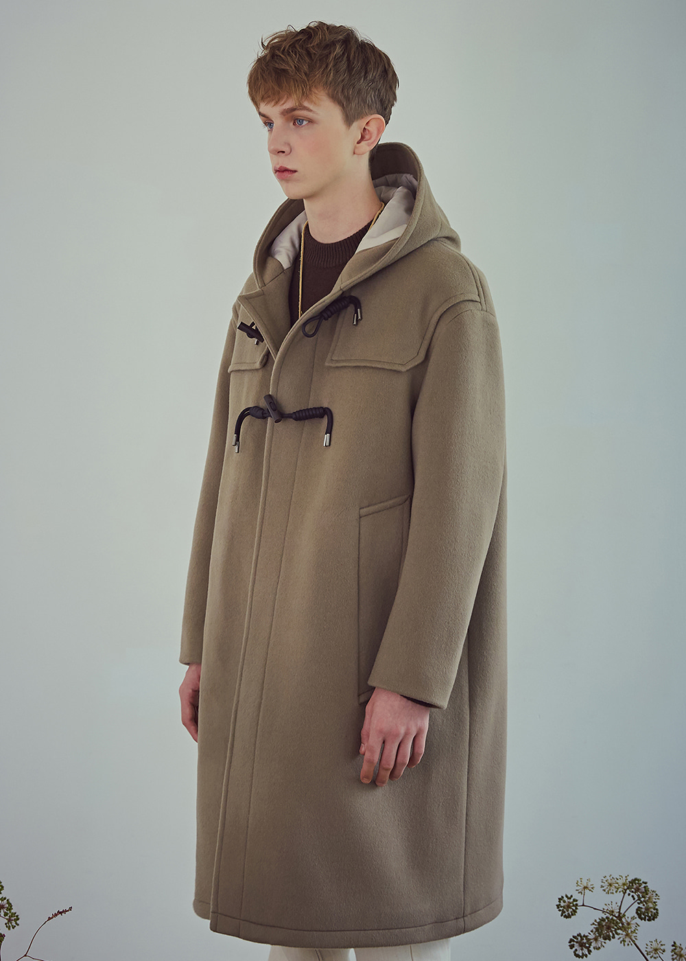 Oversized Wool Dufflecoat - Dusty Beige