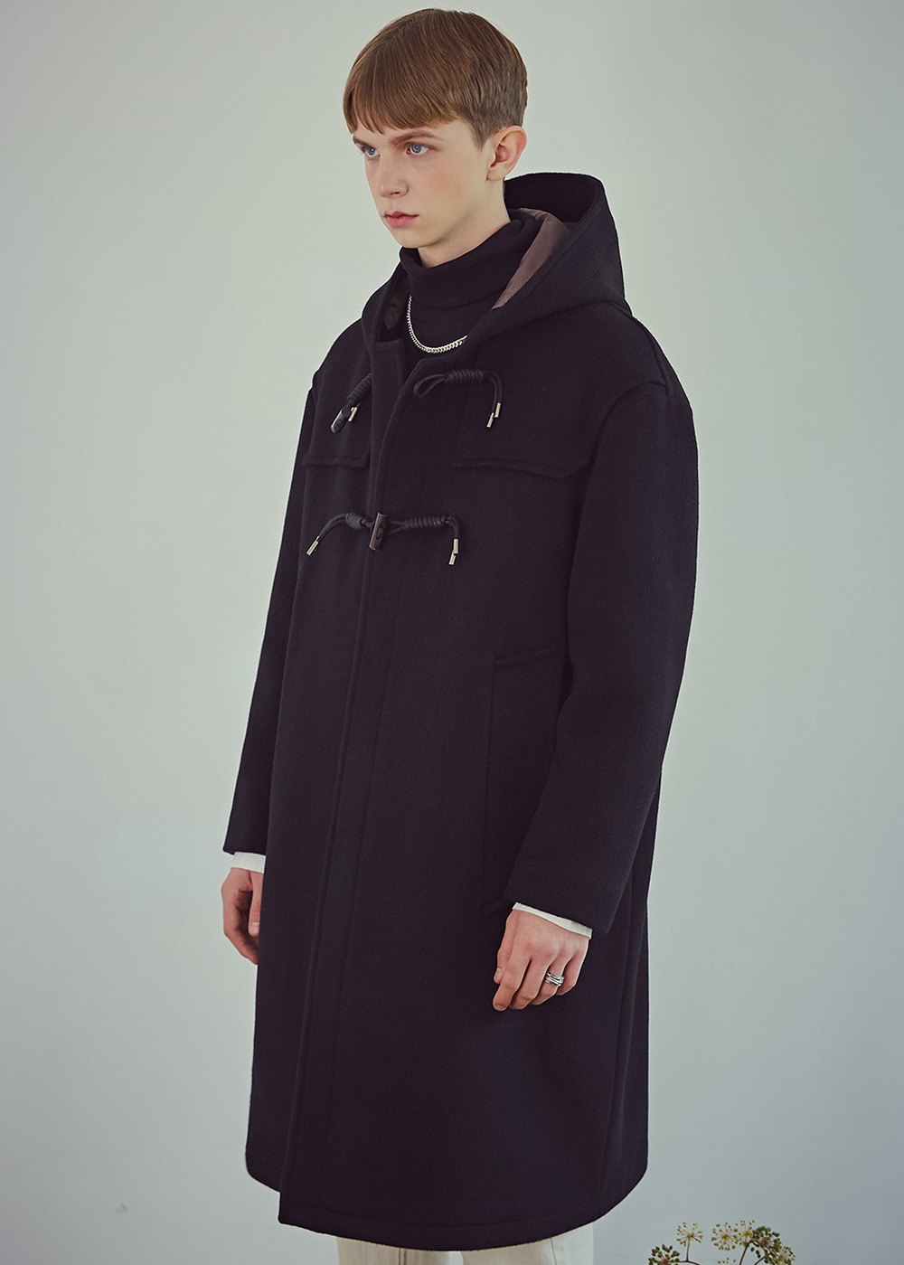 Oversized Wool Dufflecoat - Matt Black