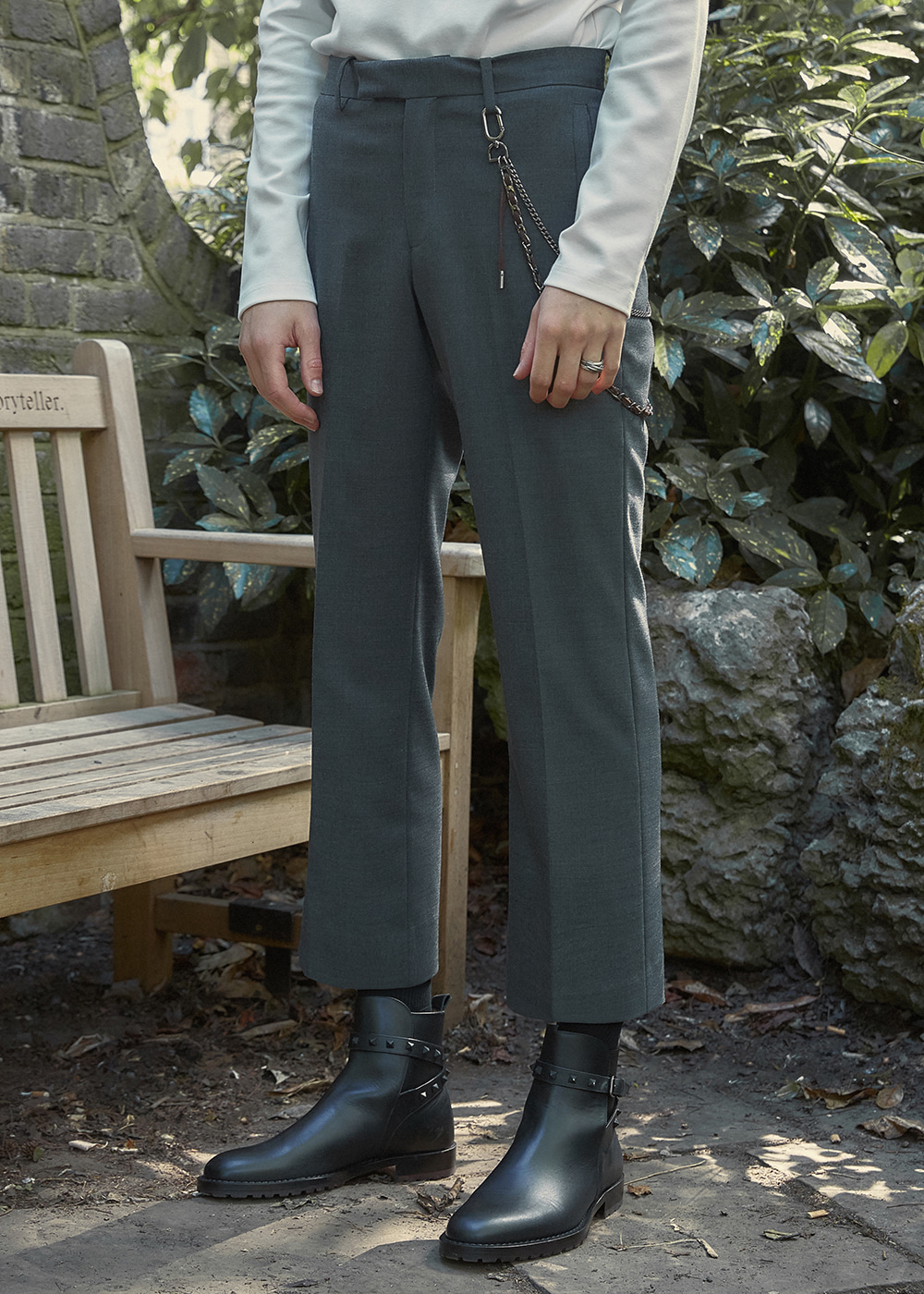 Wool-Blend Straight-leg Trousers - Chacoal Grey