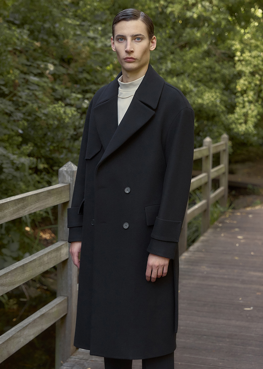 Oversized Wool Trench Coat - Black