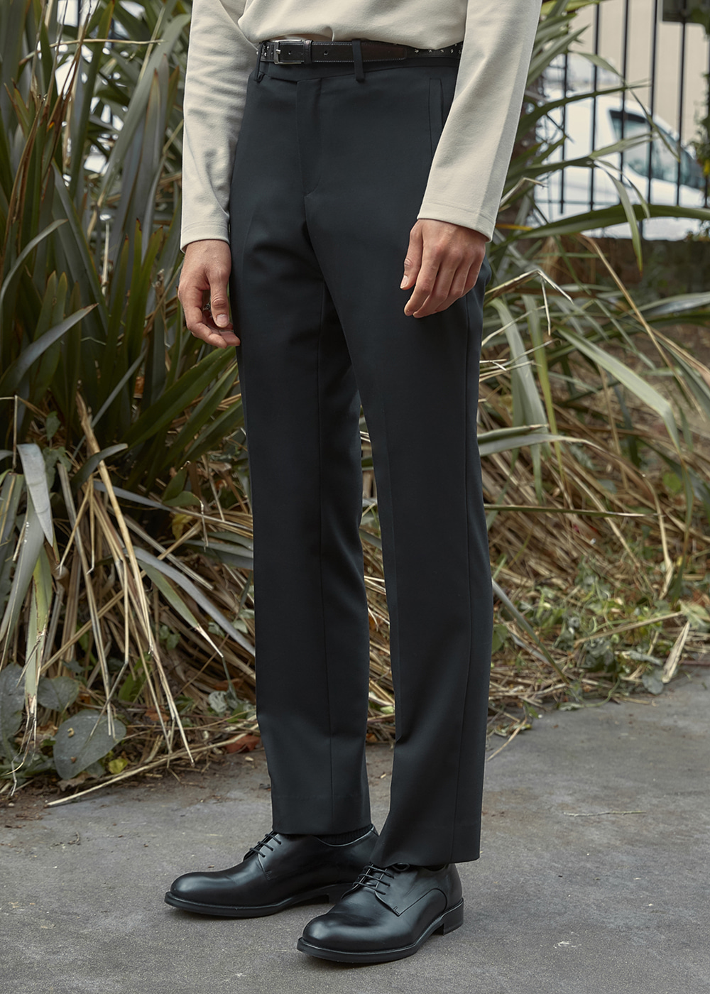 Wool-Blend Straight-leg Trousers - Black