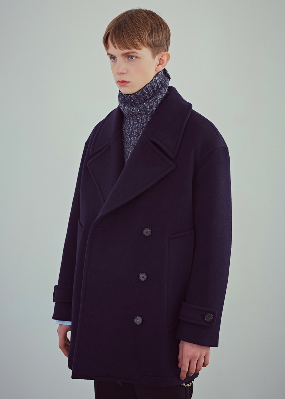 Oversized Wool Peacoat - Sea Navy